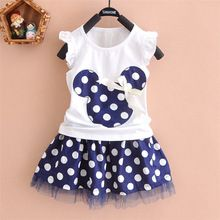2016 nueva camiseta + falda del bebé juegos de los cabritos 2 unids moda ropa para niñas establece minnie ropa bow tops vestidos traje 2 - 7 T(China (Mainland))