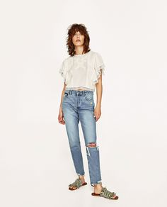 ZARA - WOMAN - EMBROIDERED TOP WITH RUFFLES