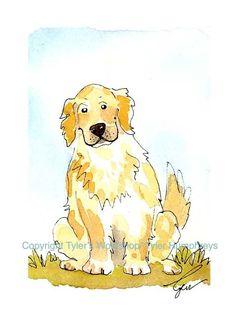 Dog Art, Golden Retriever Greeting Card, Dog Card, Funny Dog Watercolor Painting Print 'Good Boy'. $3.50, via Etsy.