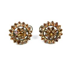 - Pair of 18th century Portuguese topaz open cluster earrings