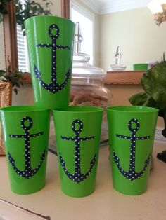 Preppy Nautical Cups by APinkPineapple on Etsy, $12.00