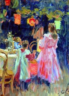 Lanterns In The Garden - Ivan Kulikov (1875 - 1941) - Gorgeous work.