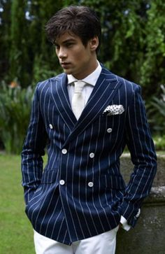 pinstripe double breasted suit - cool jacket but with different colors buttons
