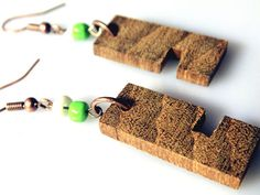 Wooden Earrings From Iroko Wood / handmade / wood boho