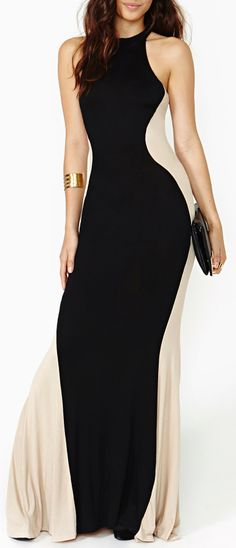 'Flight of the Contours' Silhouette Maxi Dress