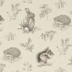 Squirrel & Hedgehog Linen Fabric A sweet fabric featuring a squirrel, rabbit and hedgehog set amongst sprays of natural British flora, acorns, catkins and blackberries. Pencil drawn in fine detail and printed in dark brown on a natural linen coloured ground.