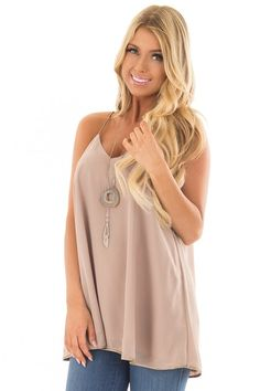 Taupe Flowy V Neck Tank Top front closeup Tan Blonde, Cute Tank Tops, Crop Tops, V Neck Tank Top, Cute Boutiques, Fashion Outfits, Womens Fashion, Manga, Taupe