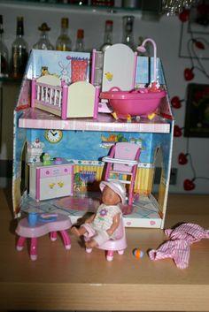 Orig. Miniworld Mini Baby Born Haus, weiße Möbel, mit Puppe u. OVP!