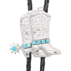 WX-BT-8941 Bolo Tie Western Boots with Turquoise