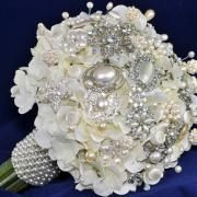 Pearl Hydrangea Brooch Bouquet from #BluePetyl.