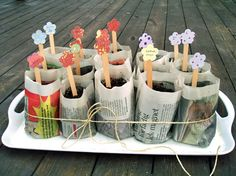Recycled newspaper seed pots