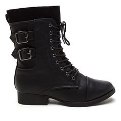 What A Trooper Faux Leather Boots BLACK ($29) ❤ liked on Polyvore featuring shoes, boots, ankle boots, black, black bootie boots, black shoes, vegan leather boots, black shootie and vegan shoes