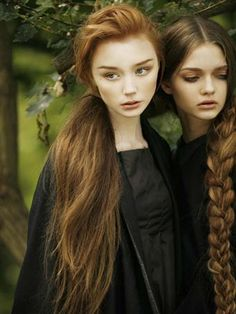 This picture is kinda creepy but their hair is so pretty and longgg! I love that girls braid.