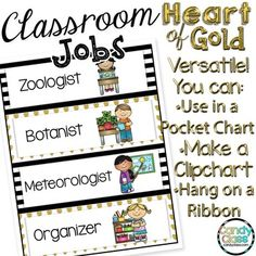 Love these for organizing classroom jobs! Love that it is versatile to set-up as a clip chart or can be set-up in a pocket chart. Love the gold and black and white. It will add a nice pop to the classroom. $