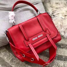 545c12565fc Miu Miu Grace Lux Leather Shoulder Bag 5BD078 Red 2018. Miu Miu  HandbagsDesigner ...