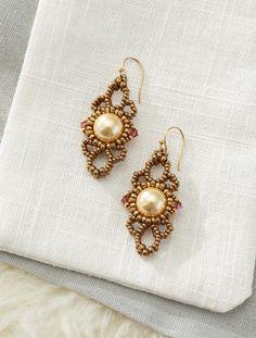 Swirls and Pearls Earrings   Modern Beaded Lace by Cynthia Newcomer #BeadedEarrings #BeadMaking
