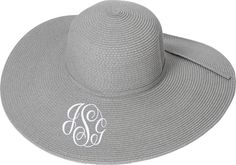 Grey Monogrammed Floppy Beach Hat  Derby  Straw by LifeAStitch, $19.50