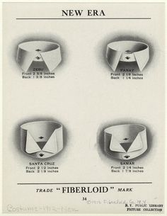 """Various Styles Of Men'S """"Fiberloid"""" Collars, 1910s.] From New York Public Library Digital Collections."""