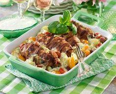Gratäng med kyckling, bacon och mozzarella