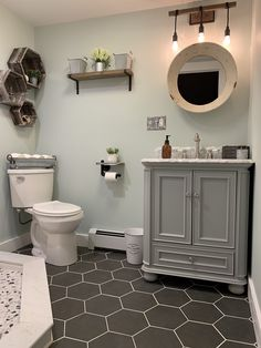 **I AM CURRENTLY IN A PAID PARTNERSHIP WITH LOWE'S HOME IMPROVEMENT** IN NO WAY DOES THIS AFFECT MY ACTUAL OPINION OF THIS PRODUCT!*** I am absolutely in love with this Scott Living Wrightsville Light Gray Single Sink Vanity with Carrara Natural Marble Top! It really was the finishing touch my newly remodeled bathroom needed! #farmhousechic #rustic #rusticbathroom #hexagontiles #scottliving #wrightsvillevanity #vanity #naturalcarrara #standupshower #pebblefloor #bathroomremodel