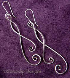 Argentium Sterling Spiral Dangle Earrings  SE2. $38.00, via Etsy.