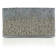 Alice + Olivia Me Embellished Leather Fold-Over Clutch ($615) ❤ liked on Polyvore featuring bags, handbags, clutches, apparel & accessories, grey, grey handbags, leather handbags, evening purse, purse and grey purse