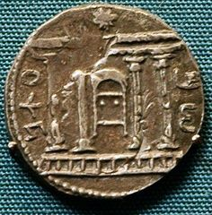 Coin of Bar Kochba, showing the Temple with a star on the roof and the Ark of the Covenant. British Museum, London (Britain). Photo Jona Lendering.