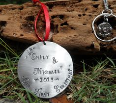 Our First Christmas Ornament - Hand Stamped Personalized 1st Christmas Ornament- Christmas Ornament