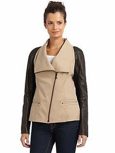 Andrew Marc Cali Leather-Sleeved Jacket