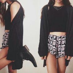 Black crop top + black cardigan + floral shorts