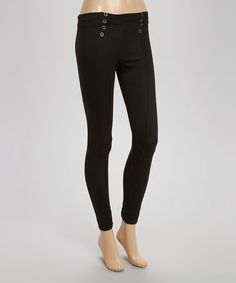 Another great find on #zulily! Black Grommet Pull-On Leggings #zulilyfinds