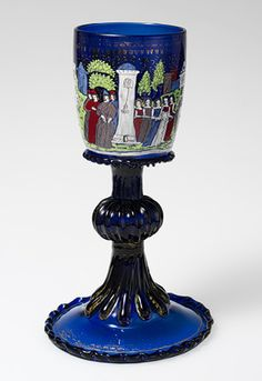 Wineglass or sweetmeat cup (confittiera) with scenes of Virgil and Febilla, ca. 1475–1500  Venice (Murano), Barovier Glass House  Enameled and gilded glass
