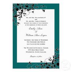 Teal Damask Wedding Invitations with Swirls
