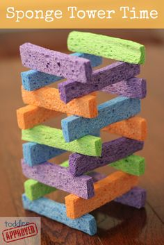 Use cut-up Dollar Store sponges as blocks during quiet playtime. Takes better fine motor skills to arrange and balance delicate sponges.