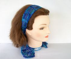 Ocean Blue Knit Lace Hair Scarf Headband #delightedsellers
