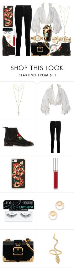 """""""2500 Followers :)"""" by xoangel33 ❤ liked on Polyvore featuring House of Harlow 1960, Claude Montana, Charlotte Olympia, J Brand, Zero Gravity, Anastasia Beverly Hills, Ardell, Madewell, Prada and Sevil Designs"""