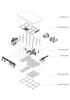 exploded view of building, can show simplified diagram of museum with architectural features