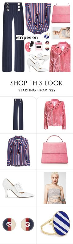 """Untitled #807"" by kawrose02 ❤ liked on Polyvore featuring Ashish, Alice + Olivia, Hunting Season, Attico, Gucci, Joanna Laura Constantine, stripesonstripes and PatternChallenge"