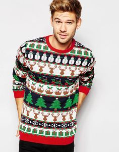 ASOS Christmas Jumper with All Over Festive Pattern