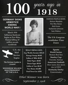 In The Year 2525, Katherine Johnson, 90th Birthday Parties, Chalkboard Poster, History Facts, History Timeline, Birthday Chalkboard, Birth Year, Vintage Advertisements