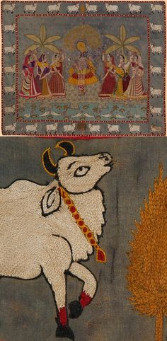 Antique Indian Textile. Extremely Fine Embroidery The Scene of Krishna Dancing with the Women Mochi Work from Gujarat Kuch 1700 - 1800 A.D