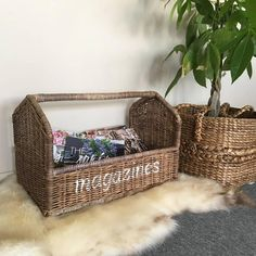 Sweet Living Rieten Lectuurmand XL - Magazines
