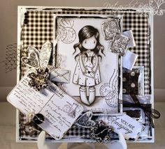 black and white card using a Sugar Nellie Gorjuss stamp Magnolia, Santoro London, Scrabble Art, Art Carte, Copics, Card Tags, Cool Cards, Kids Cards, Scrapbook Cards