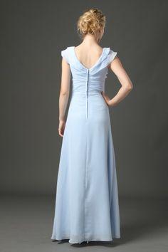 #85033 - Floor-Length V-Neck Ruffled Chiffon Dress - Bridesmaid Dress - Simply Bridal