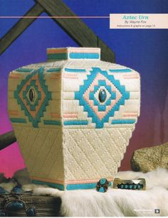 Aztec Urn Plastic Canvas Chart Basket Vase