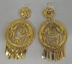 Delicate filigree scrollwork chandelier earrings handmade by mexican gold tone filigree earrings mozeypictures Images