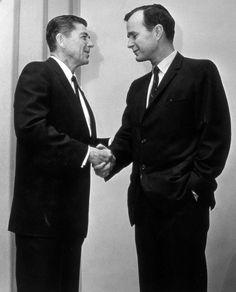 Ronald Reagan & GHWB shaking hands, 1966