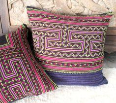 Hmong Pillow Cushion Ethnic Embroidery Batik by SiameseDreamDesign