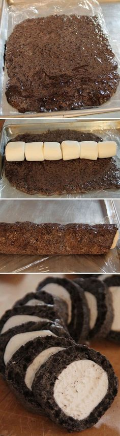 This Oreo Cookie Marshmallow Roll looks pretty yummy. It's made like rice krispie treats only using crushed Oreo cookies.