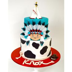Cowboys & Indian themed 1st Birthday Cake